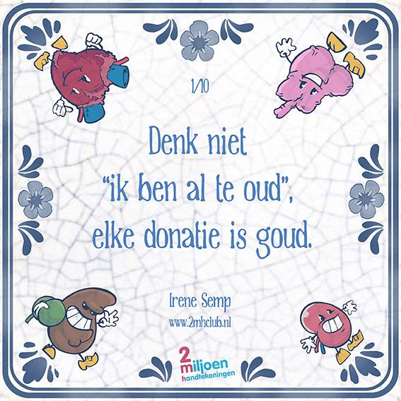 Eerste #tegeltjeswijsheid #orgaandonatie: Je bent nooit te oud om zelf een keuze te maken https://www.jaofnee.nl/'